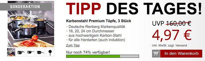 Renberg 3er Set Renberg Karbonstahl Töpfe für 10,94€ + gratis Artikel