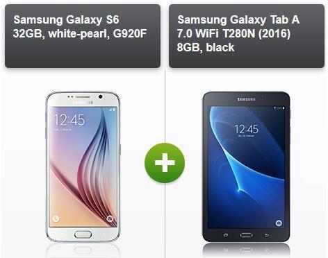 Samsung Bundle gratis Samsung Galaxy S6 32GB + Samsung Galaxy Tab A 7 + otelo Allnet Flat XL + SMS + 1,5GB Daten für 29,99€ mtl.