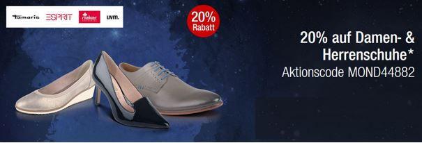 Schuh Rabatt 20% Rabatt auf alle Damen  und Herrenschuhe in den Galeria Kaufhof Mondschein Angeboten