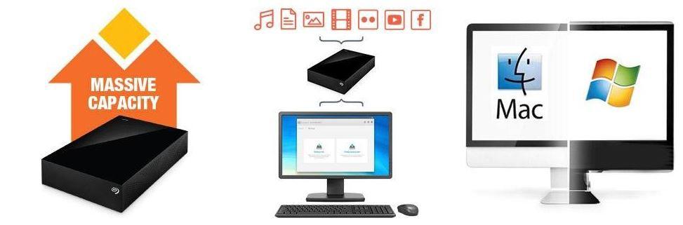 Seagate Backup Seagate Backup Plus   3TB externe Festplatte mit 200GB Cloud Speicher für 89€