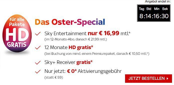 Sky Pakete mit gratis HD + keine Aktivierungsgebühr ab 19,99€ mtl.