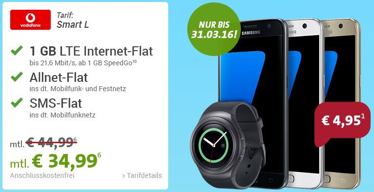 Smart L Vodafone TOP! Samsung Galaxy S7 32GB + Smartwatch Samsung Gear S2 + Vodafone Allnet + SMS Flat + 1GB Daten für 34,99€