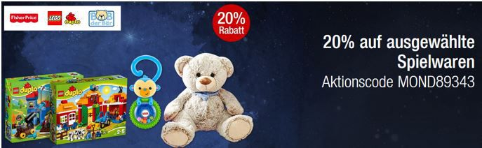 20% extra Rabatt auf ausgewählte Spielwaren in den Galeria Kaufhof Mondschein Angeboten