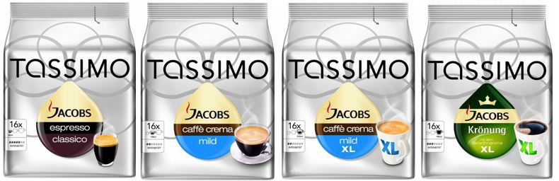 Tassimo Angebot Tassimo Kapseln   80 Stück in 5 Beuteln ab 17,90€