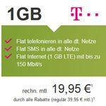 Telekom Allnet + SMS + 1GB Flat ab 19,95€ und mehr Top Magenta Verträge