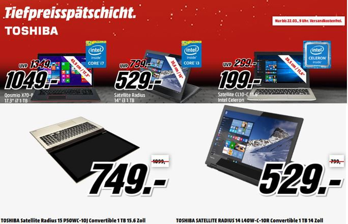 günstige Notebooks und Convertibles von Toshiba in der MediaMarkt Tiefpreisspätschicht