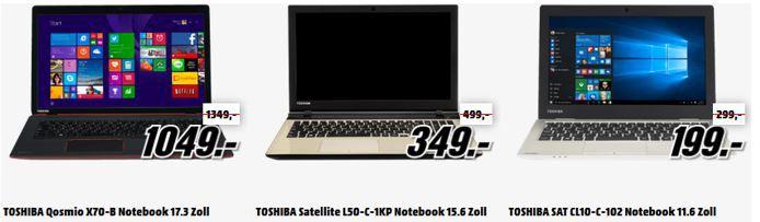 Toshiba Tiefpreisspätschicht günstige Notebooks und Convertibles von Toshiba in der MediaMarkt Tiefpreisspätschicht