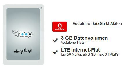 3GB LTE im Vodafone DataGo M + gratis 7,9 Zoll Tablet Whoop Charlie mit 300€ Auszahlung