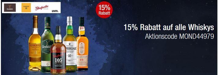 Whisky Sale 15% Rabatt auf das gesamte Whisky Sortiment in den Galeria Kaufhof Mondschein Angeboten