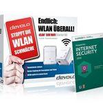 Devolo dLAN 500 – WiFi und Powerline Set +  Kaspersky Internet Security 2016 für 79,70€