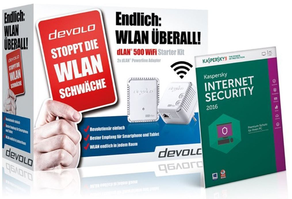 Devolo dLAN 500   WiFi und Powerline Set +  Kaspersky Internet Security 2016 für 79,70€