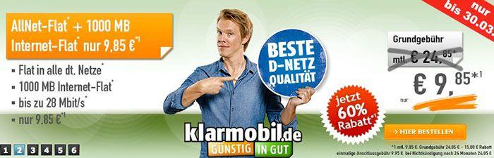 klarmobil Allnet Flat klarmobil Allnet Flat mit 1GB Daten für 9,85€ monatlich   Telekom Netz!