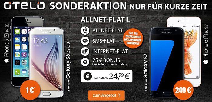 otelo Allnet Flat L Samsung Galaxy S7 + otelo Allnet Flat L mit 1,25GB für 35,37€mtl.