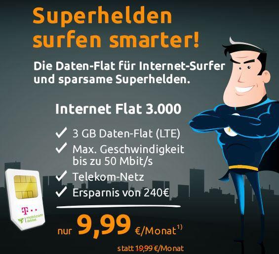 3GB LTE Telekom Datenflat bis zu 50Mbit/s für nur 9,99€ mtl.