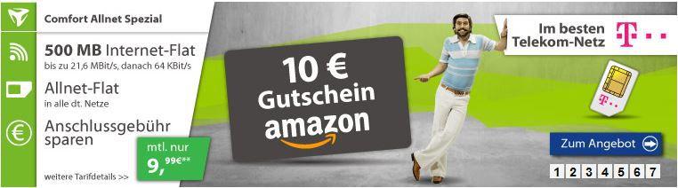 10€ Amazon Gutschein Telekom AllNet Flat + 500MB Daten + Powerbank für 9,99€ mtl.