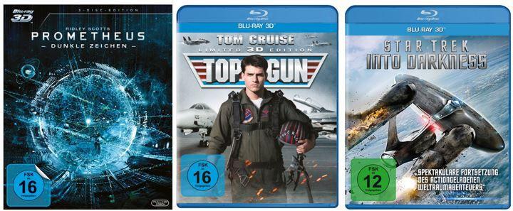 3er Pack 3D Blu rays für 30€ bei Amazon