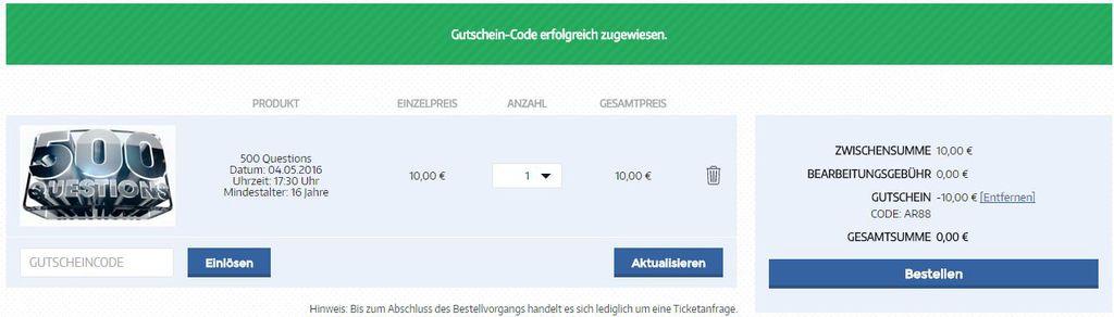 500 Questions Gutschein eingelöst 1024x292 Freikarten für die Quizshow 500 Questions am 04.05. in Köln