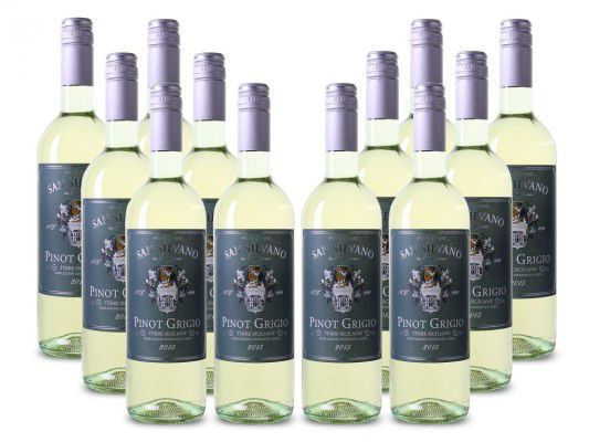 12 Flaschen San Silvano   Pinot Grigio   Terre Siciliane Weißwein für 39,90€