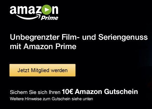 Amazon Prime 10€ Amazon.de Gutschein ohne MBW für Prime Anmeldung   Knaller!