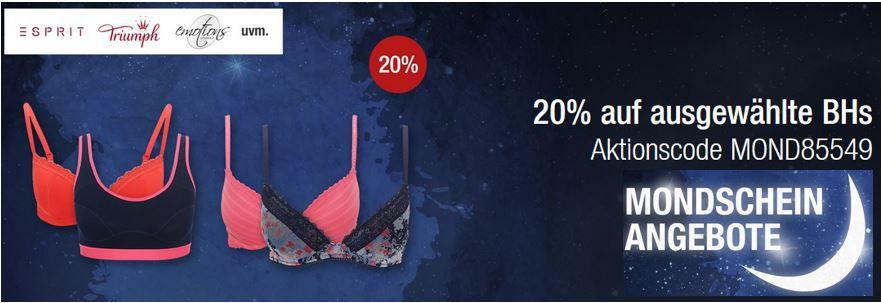 BHs im Sale 20% Rabatt auf ausgewählte BHs   Galeria Kaufhof Mondschein Angebote