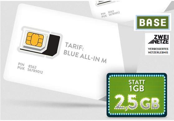 BASE Allnet Flat + SMS Flat + 2,5GB LTE Daten   dank Gutschein für nur effektiv 8,99€