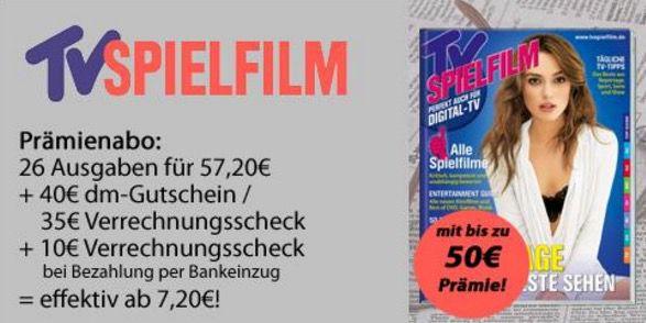 Jahresabo TV Spielfilm für effektiv 7,20€ dank dm Gutschein