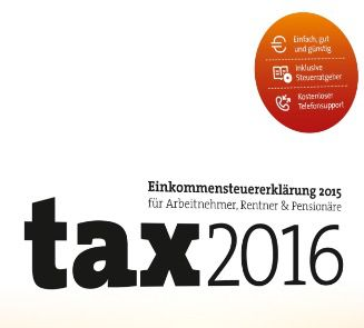 Buhl Data tax 2016 ab 5€ (statt 8€)   Steuererklärung 2015 auch für Selbständige!