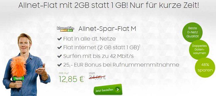klarmobil Telekom Allnet Flat mit 2GB für 12,85€ monatlich