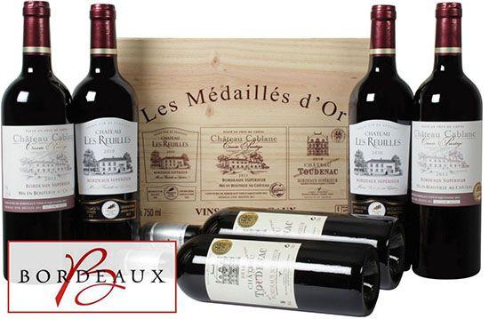 Bordeaux Superieur 6 Flaschen prämierter Bordeaux Superieur Wein in Holzkiste für 34,94€