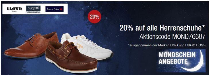 Bugatti Sale 20% Rabatt auf (fast) alle Herrenschuhe   Galeria Kaufhof Mondschein Angebote