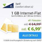 O² Allnet Flat + 1GB Daten für nur 6,99€ mtl. + mehr günstige Verträge