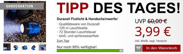 Duracell Handscheinwerfer Duracell Handscheinwerfer + 2 gratis Artikel für 9,96€