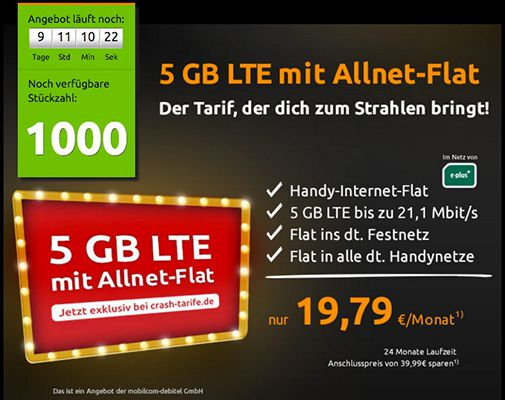 E Plus Allnet Flat + 5GB LTE für 19,79€ mtl.