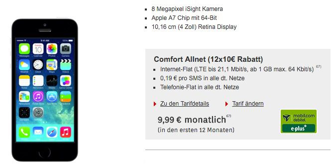 E Plus Allnet Flat1 iPhone 5S + 24 Monate E Plus Allnet Flat 1GB LTE für 400,75€