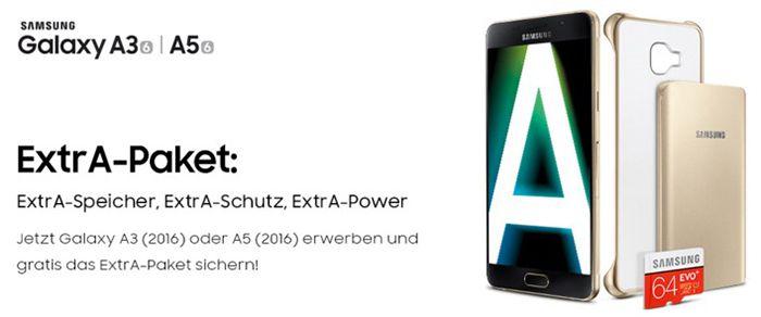 Extra Seite Samsung Galaxy A3/A5 + 64GB Speicherkarte + Powerbank + Hülle + o2 Allnet Flat für 15€ mtl.