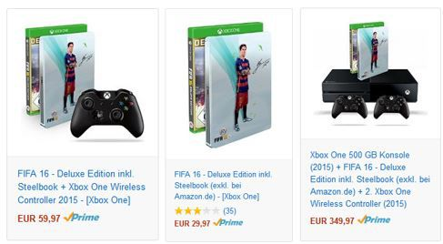 FIFA 16 Angebote FiFA 16 Deluxe Edition als XBox Game oder im Bundle ab 29,97€