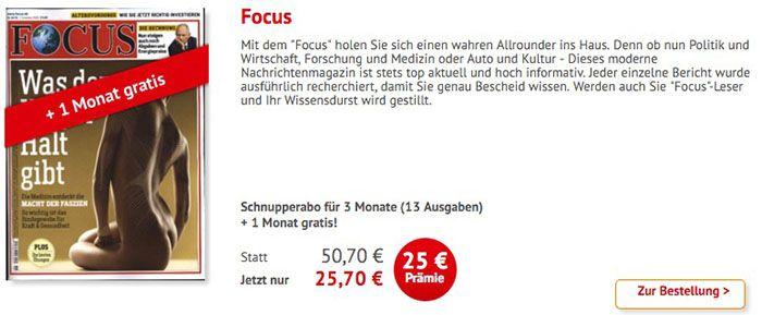13 Ausgaben Focus für 25,70€ + weitere 4 Ausgaben bei Bankeinzug