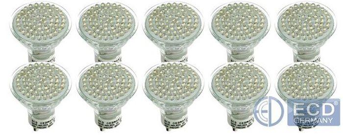 GU10 Spots 10x 3W oder 8x 5W LED Spots GU10/MR16 Sockel für je 17,99€