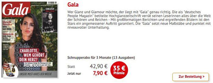 4 Monate Gala (16 Ausgaben) für 7,90€ (statt 43€)   HOT!