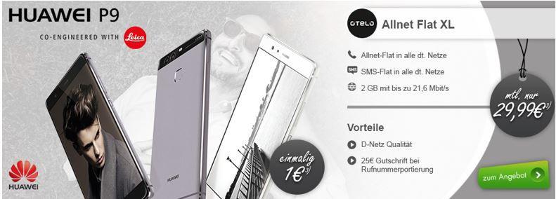 Huawei P9 + AllNet + SMS Flat+ 2 GB Daten für nur 29,99€ mtl.