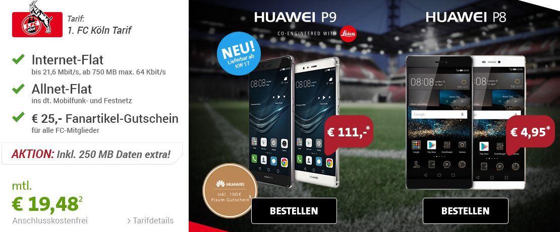 HUAWEI P9 + Vodafone Allnet Flat +750 MB Daten + 100€ Pixum Gutschein für 24,10€ mtl.
