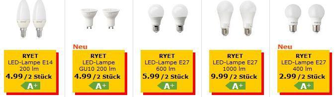 IKEA RYVET   LED Leuchtmittel im Doppelpack ab 2,99€