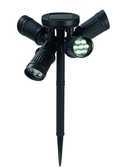 LED Solar Garten Lampe LED Solarlampe mit 4 justierbaren Strahlern für nur 17,99€