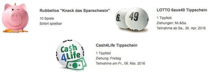Lottoland Neukunden 1 Lotto Tipp + 10 Rubbellose + 1 Tipp Cash4Life für 0,99€ (statt 6,75€)