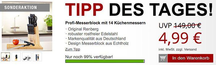Messerblock Renberg Messerblock mit 14 Messern für 10,96€ + gratis Artikel
