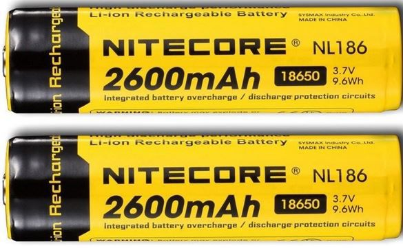 NiteCore Li Ion Akku   Typ 18650 mit 2600mAh im 2 Pack für nur 14,90€