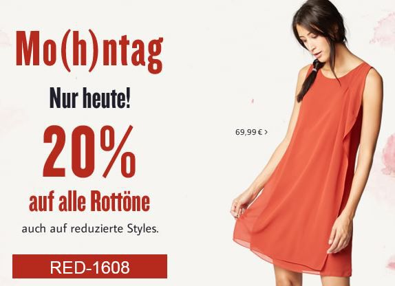 Rot Tom Tailor Flash Sale   20% Extra Rabatt auf rote Kleidung