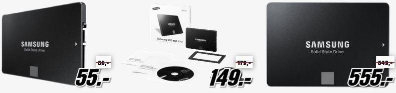 Media Markt Samsung Speicher Tiefpreisspätschicht: z.B. Samsung SSD 850 Evo 120GB für 55€