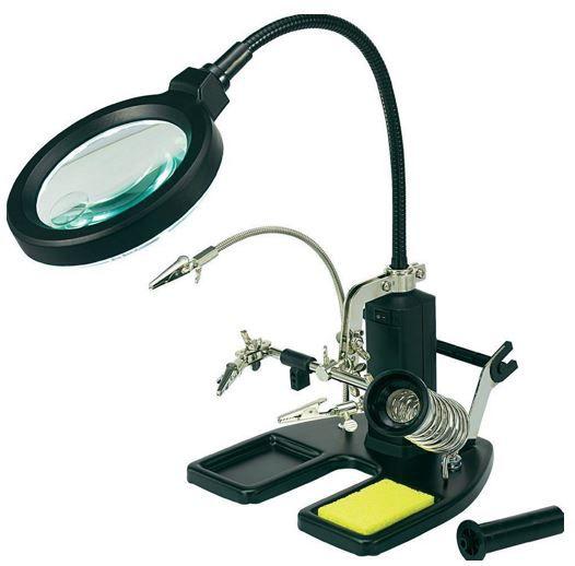 Schwanenhals Tischlupenleuchte Toolcraft LED Lupenleuchte mit mehrfach Halterungen für 59,99€