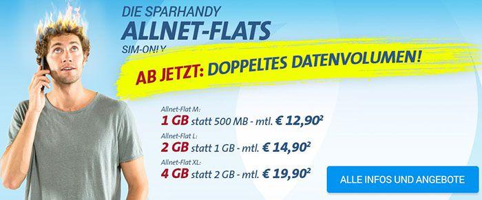 Sparhandy Telekom Allnet Flat mit 1GB für 12,90€ monatlich   2GB für 14,90€ oder 4GB für 19,90€